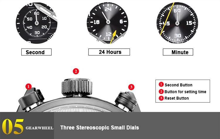 MEGIR 2514 Бренд Мода Повседневная Кварцевые Часы Световой Хронограф Подлинная Кожаные Ремни Часы Мужчины Бесплатная Доставка