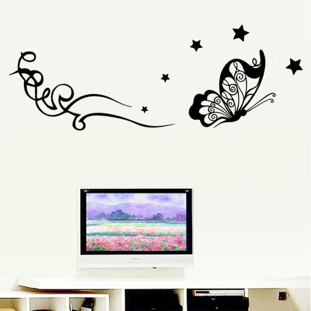 3d полет бабочки и лозы звезда стикер стены стены наклейка легко снимается и искусство пвх украшения дома декор