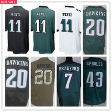 Shop Discount SexeMara,11 Wentz 7 Bradford 20 Dawkins 43 Sproles 91 Cox,man Size S-XXXL,Best Quality men green white black(China (Mainland))
