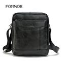 FONMOR Cow Genuine Leather Leisure Men Bag Zipper Shoulder Bag Handbags for the Office Messenger to