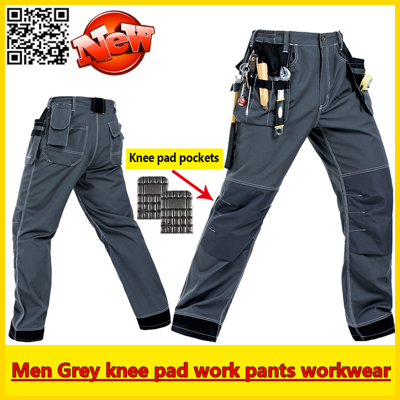 Mens EVA knee pad grey work pant mechanic pants padded trousers