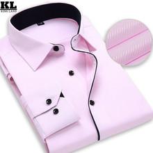 2016 Brand Mens Work Shirts Long Sleeve Striped /Twill men Dress Shirt White Male Shirts 4XL 9 Colors Social Camisa Masculina