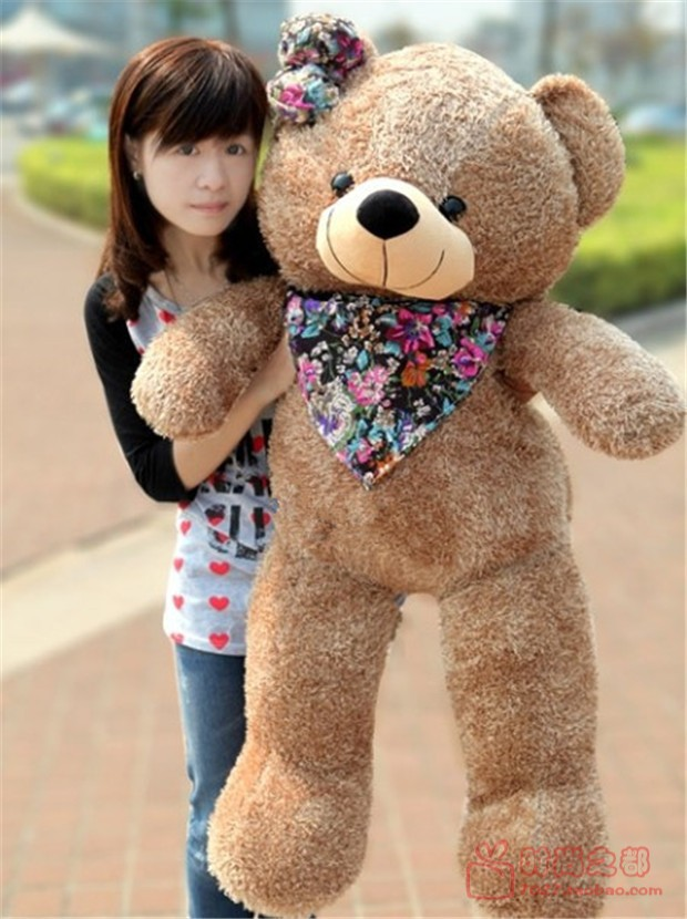 huge lovely teddy bear toy plush sweet bear doll with flower scraf gift toys about 120cm(China (Mainland))