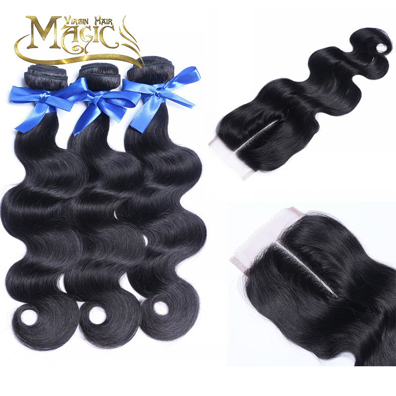 Unprocessed Brazilian Virgin Hair body wave With Closure 3Bundles Brazilian Hair With 4x4Closure can be dyed middle part <br><br>Aliexpress