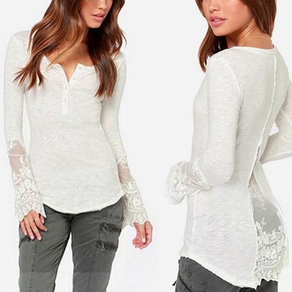 Floral Crochet Lace blusa Sexy Blusas camisa roupas Femininas S-3XL