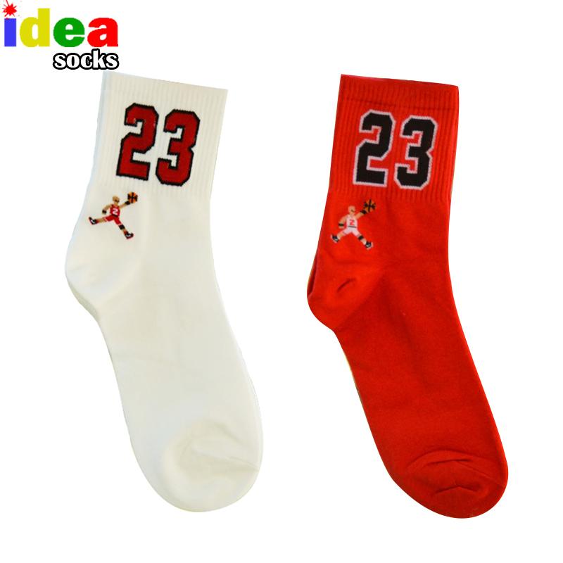 Men&Women Brand Cartoon No.23 Sport Red Socks Cotton Football Basketball in tube Socks Male Elite Sox white Sock(China (Mainland))