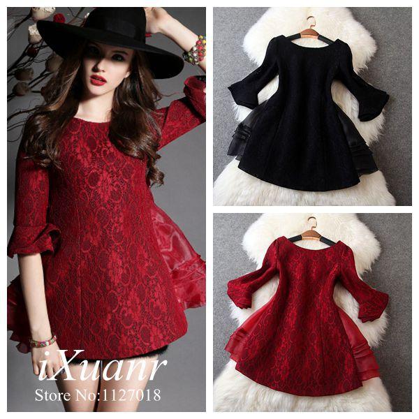 2014 Winter Women Dress European Style American Apparel Fashion Thicken Lace Patchwork Organza Bowknot Dress A-Line Mini Dress(China (Mainland))