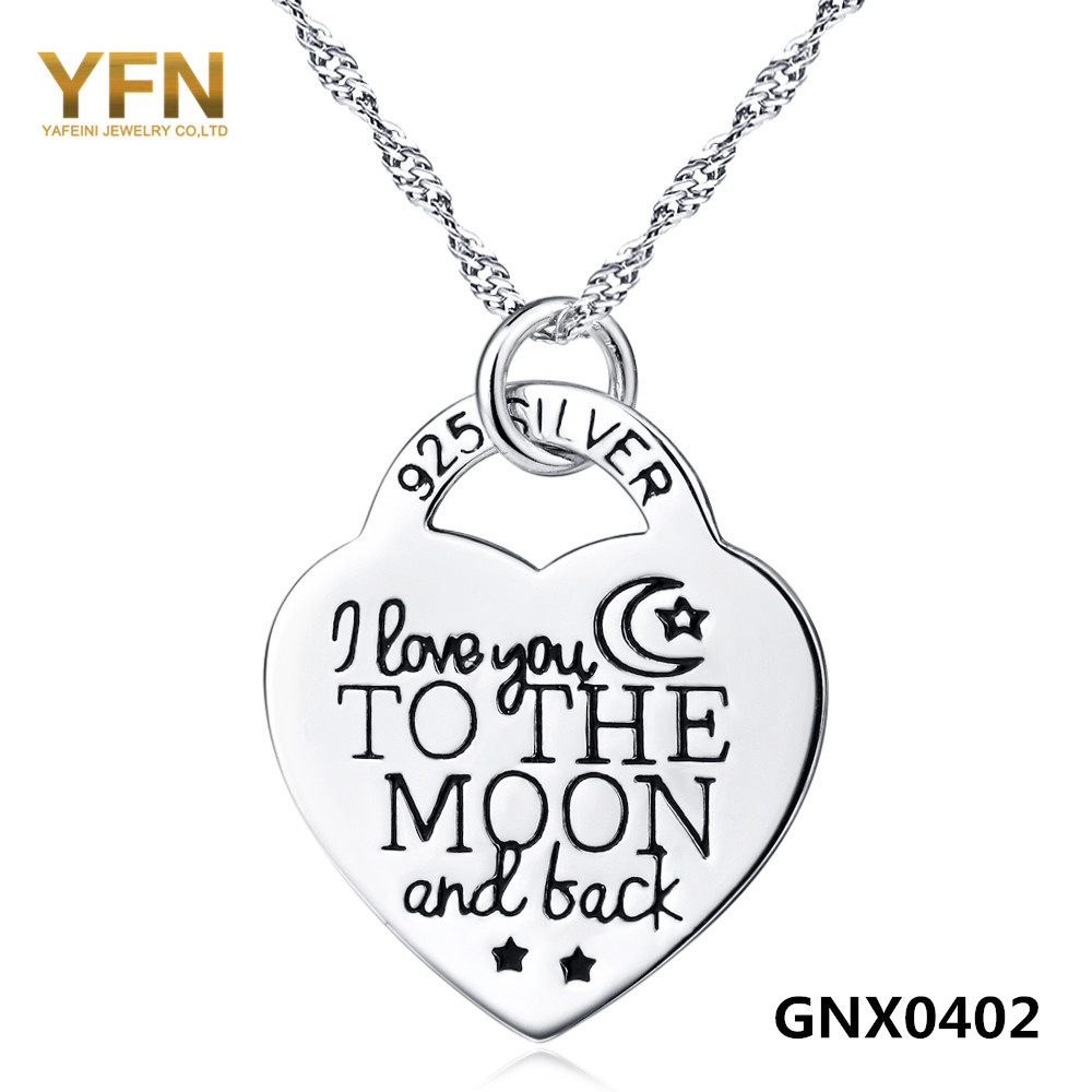 GNX0402 I Love You to The Moon and Back Necklace 925 Sterling Silver Heart Pendant Necklace Fashion Jewelry Collare Mujer(China (Mainland))
