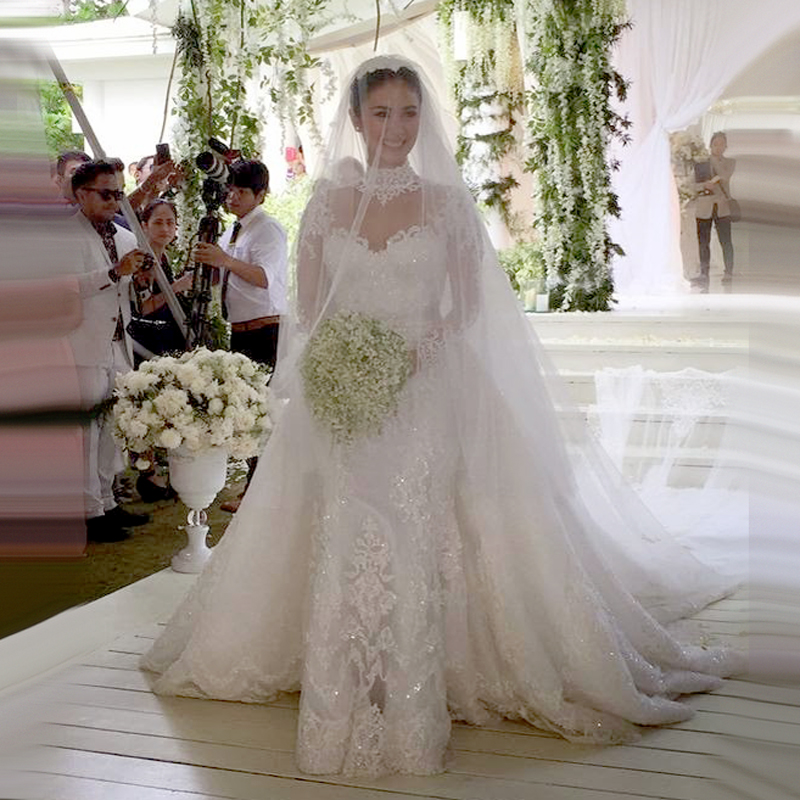 Mermaid Wedding Dress With Detachable Train : Popular long sleeved bridal gown buy cheap
