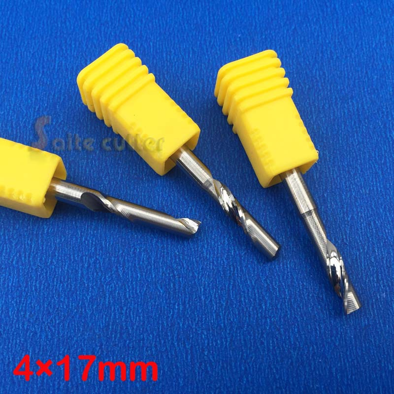 Import 2pcs 4* 17MM Spiral One Flute Tool, Engraving Bit, Solid Carbide Endmill Cutter, Cutting Aluminum Wood, MDF, PVC, Acrylic(China (Mainland))