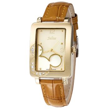 Julius Lady Woman Wrist Watch Quartz Hours Best Fashion Dress Korea Bracelet Leather Cartoon Cute Mouse Girl Birthday Gift JA447