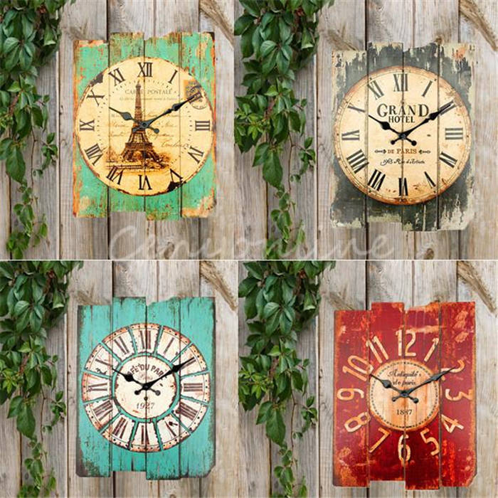 Hot Sale New Retro Vintage Rustic Wall Clock Shabby Chic Home Office Coffee shop Bar Decor Decoration Best Gift Craft 4 Stylish