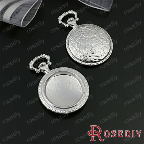 Wholesale 38*27mm inside 20mm Matte Silver Round Pocket Watch Box Alloy Cameo Settings Pendants Diy Findings 6 Pieces(JM5772)(China (Mainland))