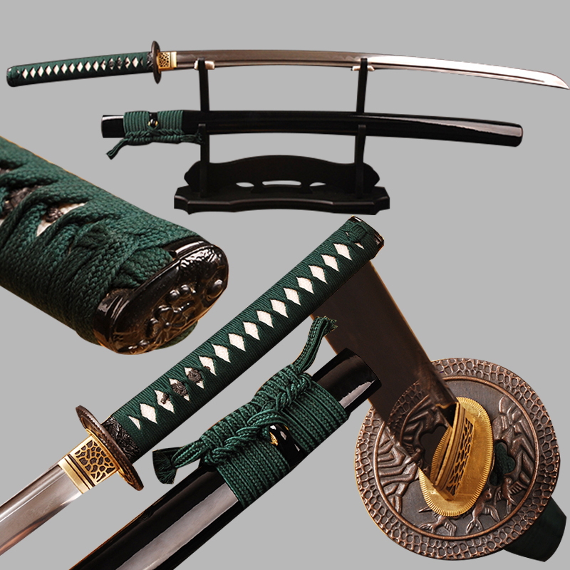 Full Tang Japanese Samurai Sword Katana Damascus Folded Steel Clay Tempered Blade Can Cut Tree Real Hamon Sharp Ready for Battle(China (Mainland))