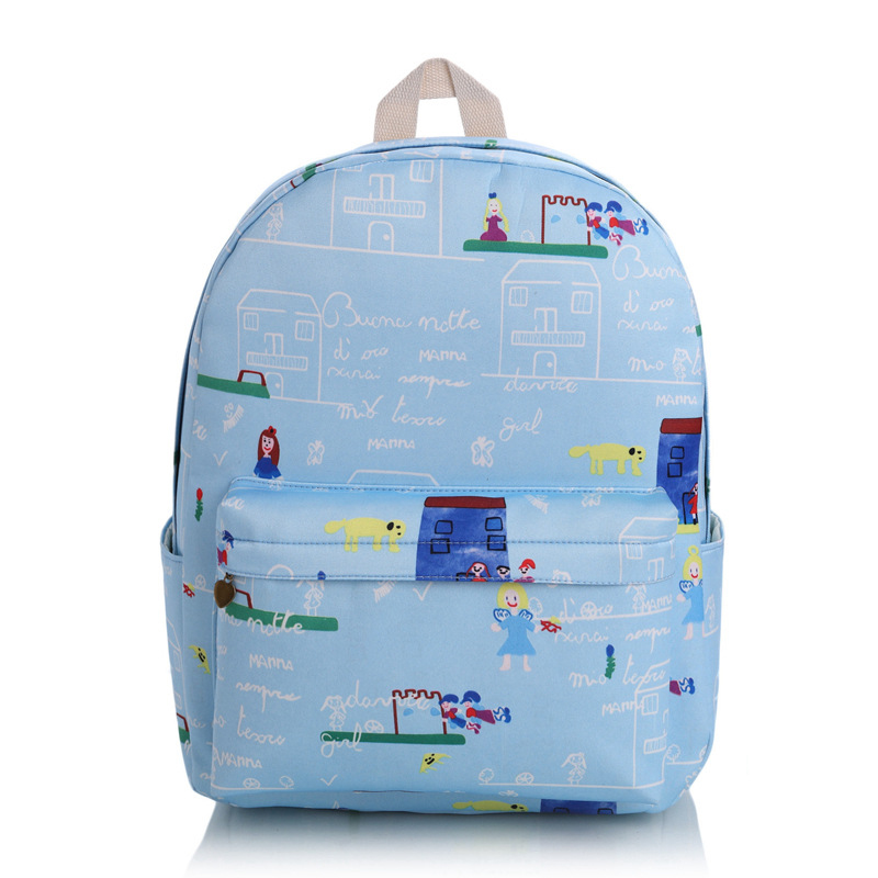 Hand-painted graffiti Canvas Women's Backpack Preppy Fresh Dailypack bags Sky Blue Girs Travel Backpack Fresh Lady Style bag(China (Mainland))