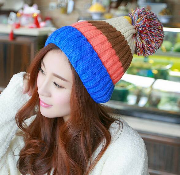 New 2015 Women Fashion Wool Hat Casual Skullies Knitted Caps Free Shipping Winter Ear Protect Cute Casual Cap Gorro Beanie(China (Mainland))