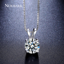 NEWBARK Round Necklace 2ct Top AAA CZ Diamond Collares 4 Prongs White Gold Plated Wedding Jewelry Classic Hearts And Arrows Gift