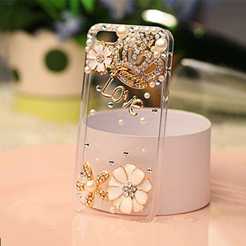 Rhinestone bling crystal pearl flower Crown Diamond clear transparent back cover luxury phone case iphone 5 5S SE 6 6S Plus - Corcossi Science & Technology CO., LTD store