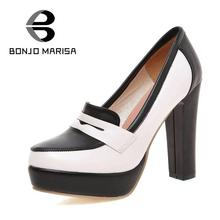 Big size 34-43 Brand Color Mixed Square High Heels Women Party Wedding Shoes Fashion White Red Platform Pumps(China (Mainland))