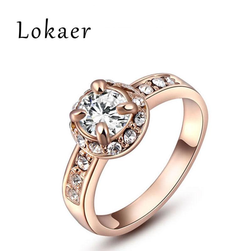 LOKAER Brand Classic Engagement Rings Prong Setting Round Cubic Zircon Diamond Rings Jewelry For Women Anniversary L2010235280(China (Mainland))