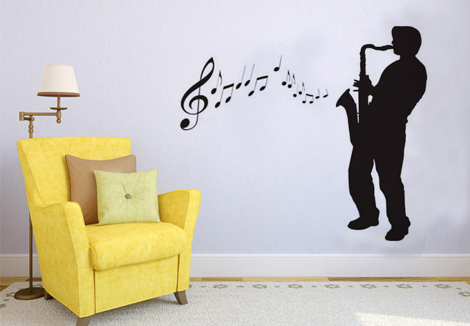 Saxophone Player Decal DIY Removable Art Music Wall Sticker Mural 3D Design House Decoration For Living Room/Music Room(China (Mainland))