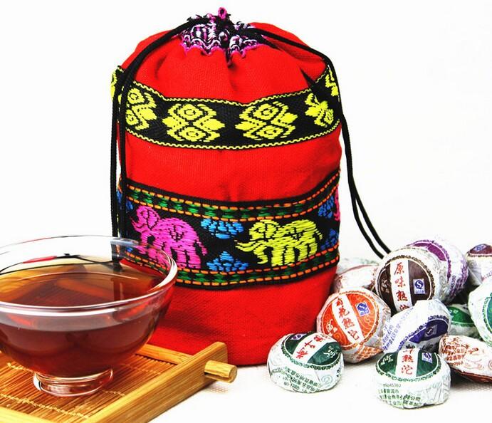 2015 NEW! 50PCS/Bag Mini Pu'er Yunnan Puer Tea Chinese Ripe Tea With Gift Bag 5-10 Different Flavour Randomly Send PH2905(China (Mainland))