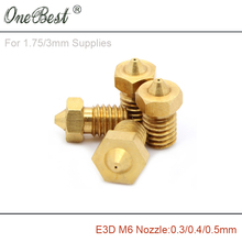E3D M6 threaded Copper Nozzle 0.3 / 0.4 0.5mm Supplies 1.75mm 3mm 3D printer parts V5 V6 hot selling - ShenZhen OneBest Technology Company Limited store