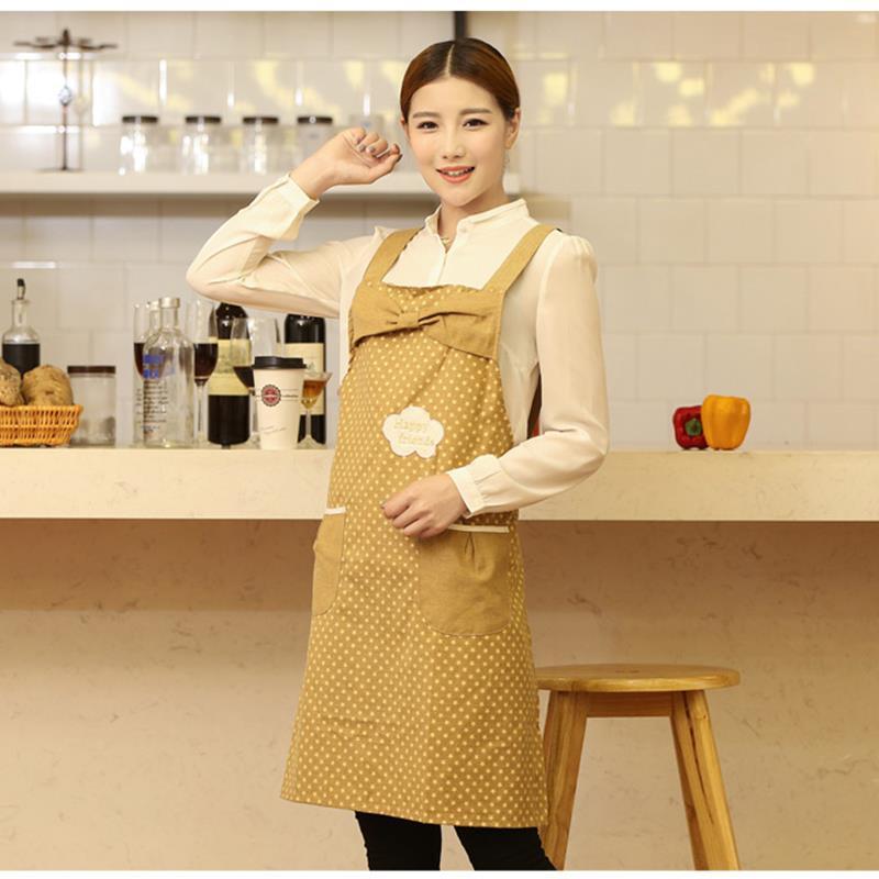 New Big Cute BowKnot Cotton Women Lady Kitchen Restaurant Bib Cooking Aprons With Pocket Custom Apron(China (Mainland))