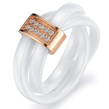 Korean version of the three ring tightly wound ceramic simulated diamond fashion love rings for women