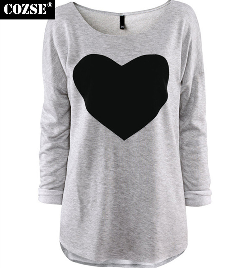 2015 new summer casual style women full sleeve peach heart for Best full sleeve t shirts