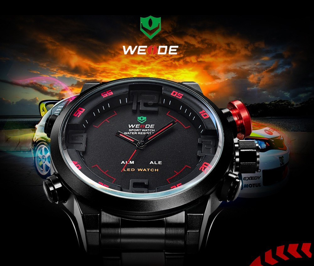 2015 Top Sale Promotion Carnival WEIDE New Sport 6 Colors luxury brand Men Quartz Military Watch with 3ATM LED Digital Analog(China (Mainland))