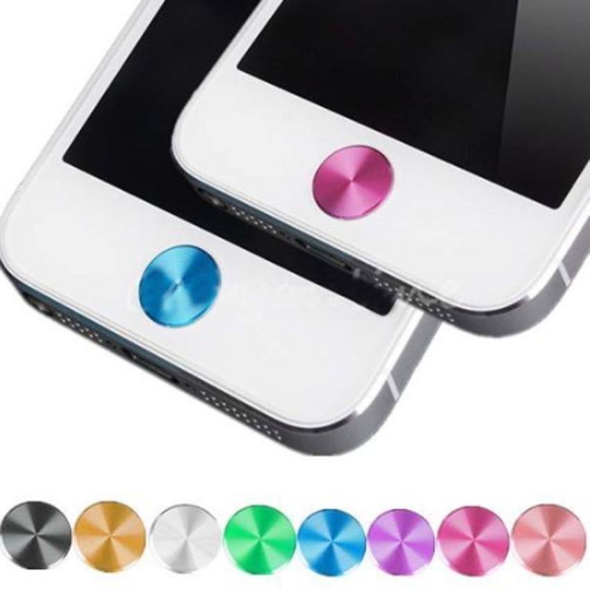 1X Aluminizing Metal Home Button Sticker Decal Multi-color for iPhone 4 4S 5 5C(China (Mainland))