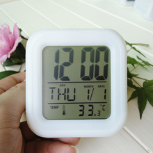Multi-function Cartoon Child Snooze 7 Color Glowing Change Digital Alarm Clock LED Watch Glowing Alarm Thermometer Clock Cube(China (Mainland))