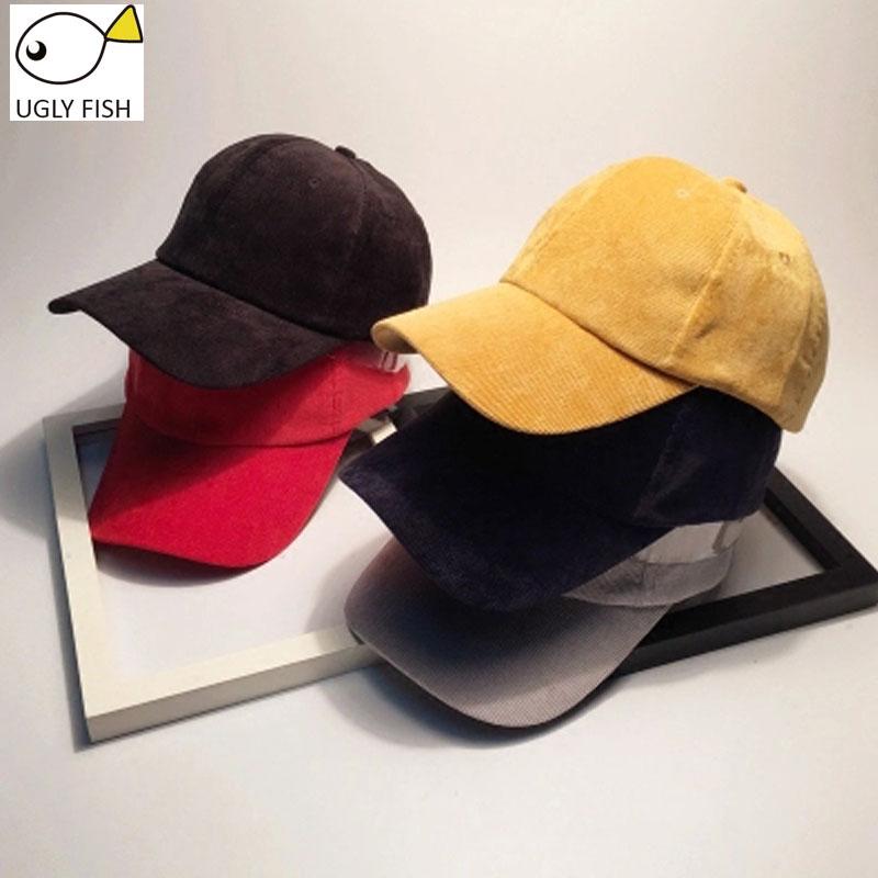 UGLY FISH corduroy women baseball cap women dad hat snapback hip hop Solid casual cap corduroy baseball cap(China (Mainland))