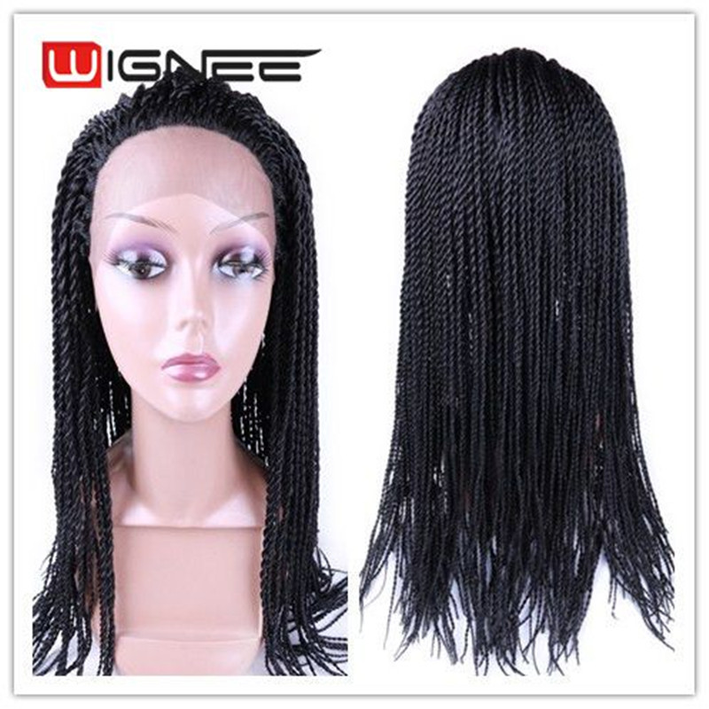Lace Front Synthetic Wig Crochet Twist Braids Faux Locs Hair Wig Havana Mambo Hand Knitting Hair Wig For African Women(China (Mainland))