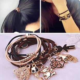 [6001] Korean style fashion elastic hair bands bracelet rubber band hair tie Chic Crown Bow hair accessories(China (Mainland))