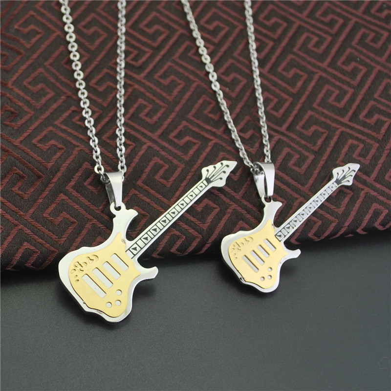 Eternal Anniversary BEYOND Guitar Lovers Necklace A Pair Men And Women Fund PUNK Accessories Product Music Gift(China (Mainland))