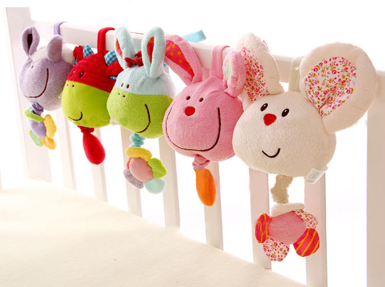 New arrival baby toys cute cartoon music bell soft appease toddler toys baby bed cart hang bell(China (Mainland))