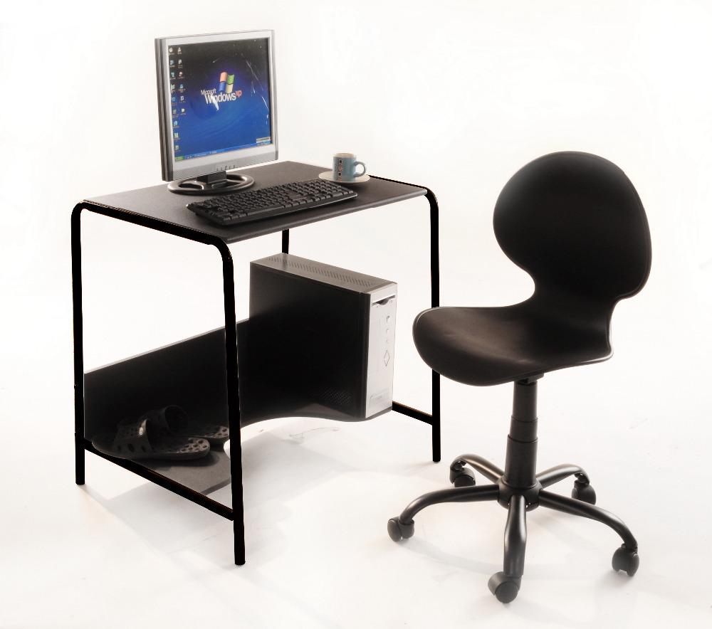 Office computer desk sliver steel tube powder coating wood - Metal office desk ...