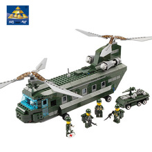 Original Box Educational Children Toys Building Blocks Kazi84009 Air Force CH47 Military Helicopter Model Kits Miniature Weapons
