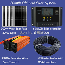 2KW solar system off grid system solar panel 200w 10pcs 2kw pure sine wave inverter 60A