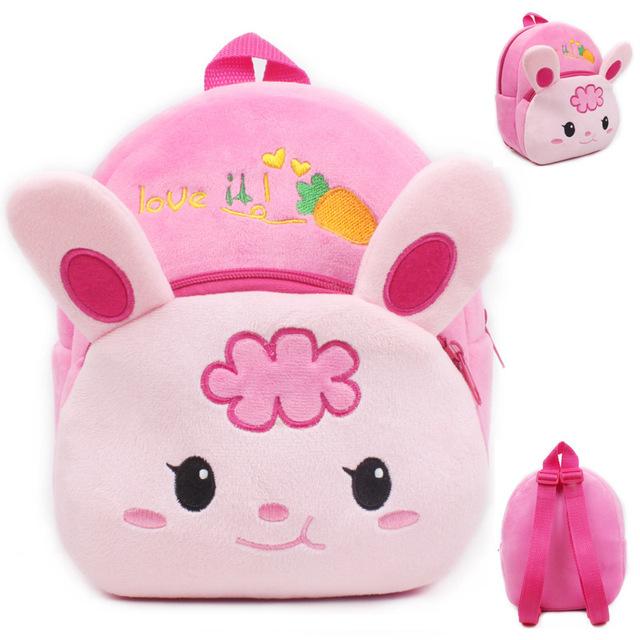 2016 высокое качество красная роза милый кролик плюшевые мультфильм игрушки рюкзак девушка характер мешок подарок для детей Mochila Infantil