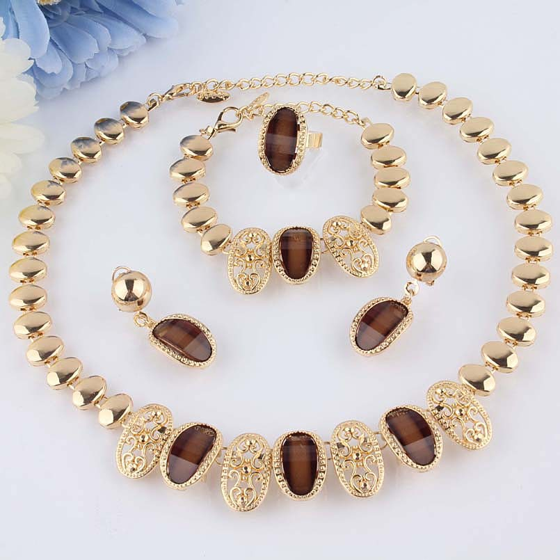 Free Shipping Crazy Feng New 18k Gold Plated Champagne Sapphire Necklace Bracelet Earrings Ring Jewelry Set(China (Mainland))