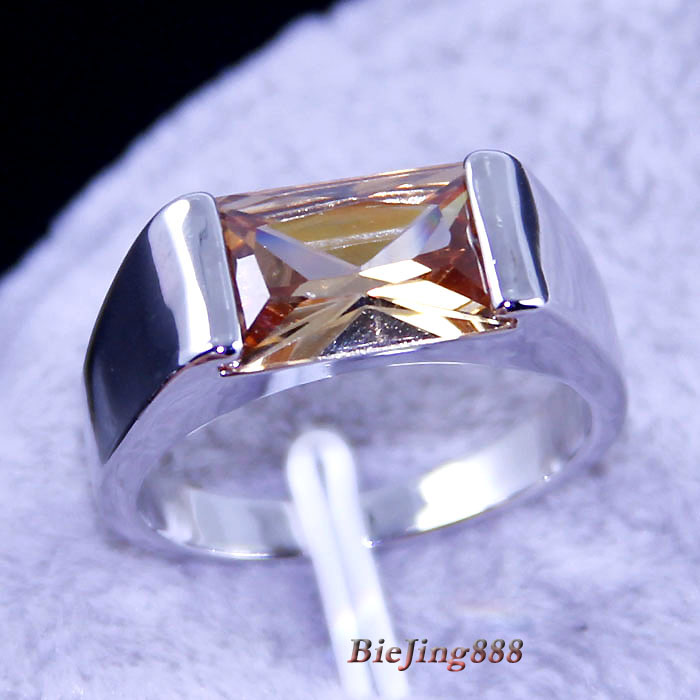 JK3189 silver 18k real white gold plated fashion jewelry bright honey citrine Ring biejing888(China (Mainland))