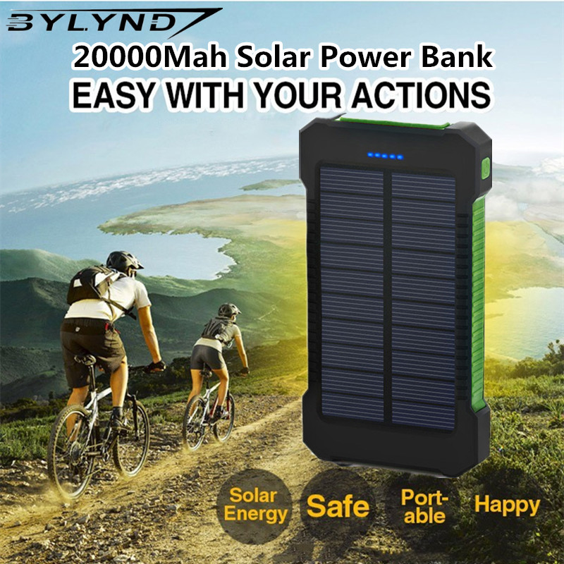 New waterproof 20000mAh Portable Solar Power Bank charger travel solar Charger Universa Backup Powerbank External Phone Battery(China (Mainland))