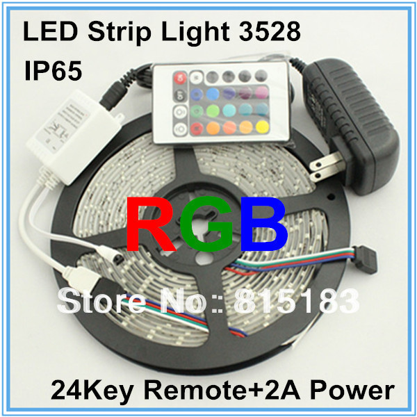 Holiday Sale 3528 60leds/m 5M Waterproof IP65 RGB Led Strip With IR 24keys Controller + 2A Power Adapter Free Shipping