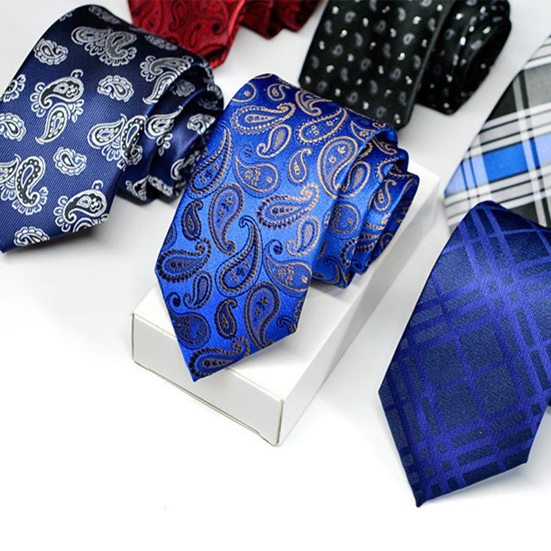 2016 Fashion Polyester Silk Striped & Paisley Neck Tie 7cm Skinny Neckties Wedding Business Suits Ties for Men Gravatas Corbatas(China (Mainland))
