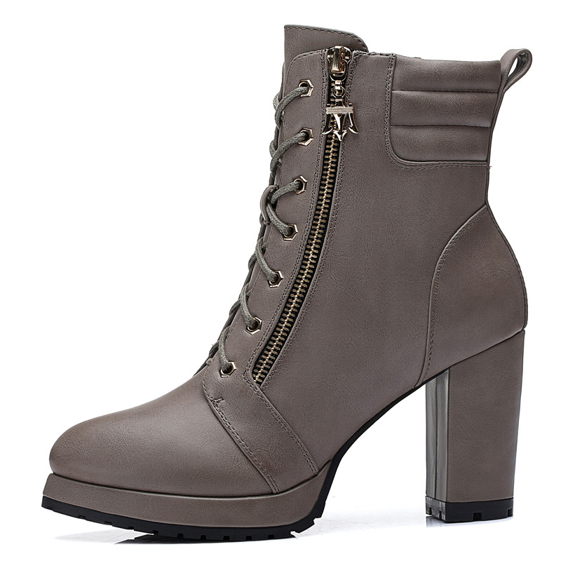Здесь можно купить  New Brand Fashion Women Platform Short Boots Zip Thick High Heels Women Boots Size 34-39  Обувь