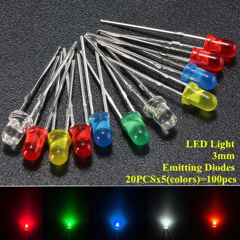 100pcs/lot 3mm LED Emitting Diodes Light Kit Round Top 5 Colors Diffused White Yellow Red Blue Green Assortment For DIY Lighting(China (Mainland))