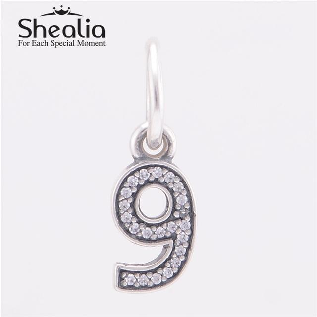 Аутентичные стерлингового серебра 925 номер девять мотаться подвески подвеска с четкими CZ для женщин известный браслеты DIY изготовления ювелирных изделий
